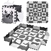 25PCs Baby Play Mat with Fence Including 9 Different Vehicle Styles Interlocking Foam Floor Tiles 0.47 Kids Room Decor Large Mat Thick