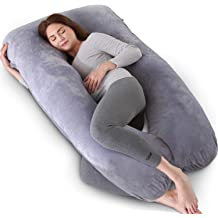LEONEBEBE Pregnancy Pillow with Velvet Cover Legs and Belly Back Hips 52 U Shaped Maternity Full Body Pillow for Pregnancy Women Support Head Shoulder