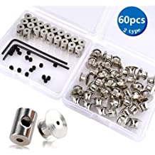 80 Pieces 3 Styles Metal Pin Keepers and Wrench with Screws Flat Locking Pin Keepers Backs Butterfly Pin Back