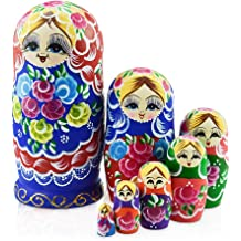 Azhna 3 pcs Penguin Family Nesting Doll Woodburned and Hand Painted Russian Doll 10.5 cm Wooden Stacking Doll
