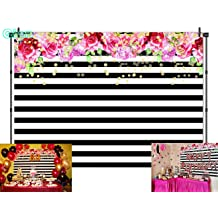 Qian Mexican Fiesta Sugar Skull Floral Photo Backdrops Day of The Dead Mexican Dia DE Los Muertos Halloween Birthday Party Decoration Photography Background Cake Table Banner Studio Props Vinyl 7x5ft