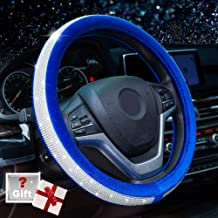 Alusbell Genuine Wool Car Steering Wheel Cover Soft Sheepskin Handmade Stretch-on Car Steering Protector Universal Fit