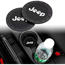 Lipctine Universal LED Car Cup Holder Lights Mats Pad Colorful RGB Drink Coaster Accessories Interior Decoration Atmosphere Compatible for Jeep Wrangler Liberty Grand Cherokee Compass Patriot Renegade