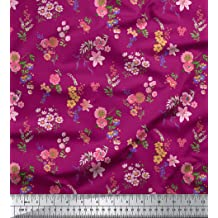 Soimoi Red Cotton Cambric Fabric Floral /& Cow Skull Head Damask Fabric Prints By Yard 42 Inch Wide