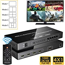 Y/&H Quad Multi-Viewer 4 Channel HDMI Screen Switch 1080P 60fps Input with 4 Viewing Modes Display Mall Video Meeting Exhibition Hall Surveillance Seamless Switch and IR Remote for Game Studio