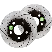 Performance Drilled//Slotted Brake Rotors and Carbon Fiber Pads Approved Performance J27666 Front /& Rear Kit