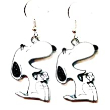 3 Pairs of Peanuts Inspired Round Gold Tone Snoopy Charlie Brown Lucy Character Metal Drop Dangle Hook Earrings W//Gift Box