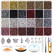 Christmas Beaded Ornament Kit Includes 700 Pieces Plastic Tri-Shaped Beads 150 Pieces Christmas Crafts Pony Beads 25 Pieces Chenille Stems 15 Pieces Bells 5 Meter Ribbon for Christmas DIY Decoration