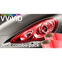 VViViD Black Perforated Headlight Wrap Self-Adhesive Cover DIY Roll 12 x 48 2-roll Pack