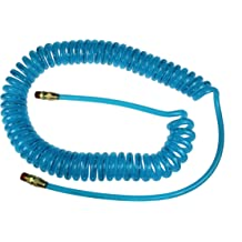 1//4-Inch ID Transparent Blue 1//4-Inch MPT Reusable Strain Relief Fittings Coilhose Pneumatics PFE40504T Flexeel Reinforced Polyurethane Air Hose 2 50-Foot Length with