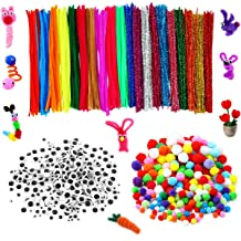100 Pcs Pipe Cleaners 10 Colors Chenille Stems 250 PCS Assorted Pom Poms 150 Pcs Wiggle Googly Eyes Self Adhesive Assorted Colors and Sizes for DIY Art Craft by Tangser