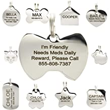 40d50ba9f112 Stainless Steel Pet ID Tags - Engraved Personalized Dog Tags, Cat Tags  Front & Back up to 8 Lines of Text – Bone, Round, Heart, Flower, .