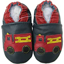 Carozoo Baby Boys Red Nose Reindeer Soft Sole Leather Shoes